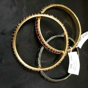 Crystal Bangle Bracelets Set of 3
